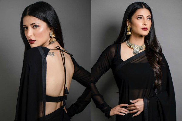 shruti hassan looks beautiful in backless saree
