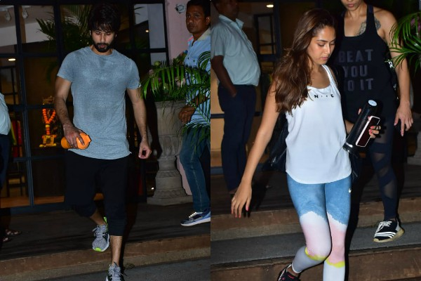 shahid kapoor mira rajput spotted outside the gym