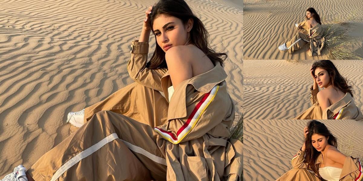 दुबई के रेगिस्तान में मौनी रॉय ने बरपाया कहर, रेत पर बैठ फ्लॉन्ट की कातिलाना अदाएं