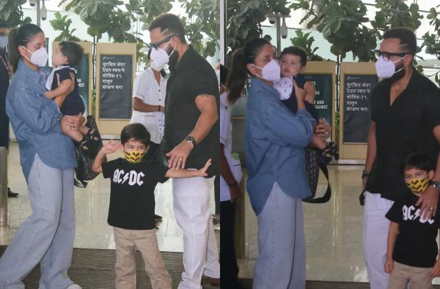 हाॅलीडे पर निकली पटौदी फैमिली:एयरपोर्ट पर तैमूर की मस्ती तो मां की बाहों में लिपट कैमरों को यूं निहारता दिखा जेह