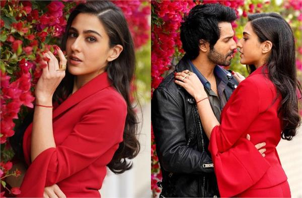 sara ali khan wore rs 1 3 lakh red jacket and trousers at coolie no 1 promotion
