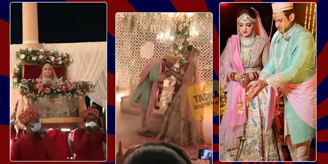 Wedding Pcitures: दुल्हन बन सुगंधा ने ली ग्रैंड एंट्री, वरमाला पहनाते ही संकेत ने चूमे मिसेज भोंसले के हाथ