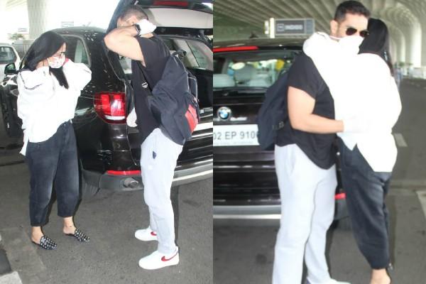 एयरपोर्ट पर पति संग रोमांटिक हुईं नेहा धूपिया,गले लगाकर यूं किया See Off