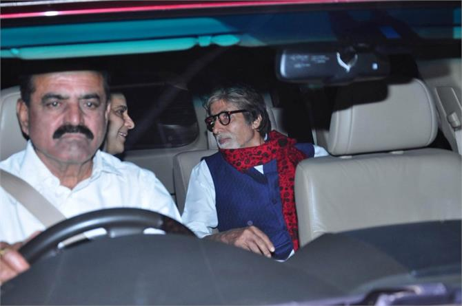 amitabh bachchan at wazir screening with vidhu vinod chopra