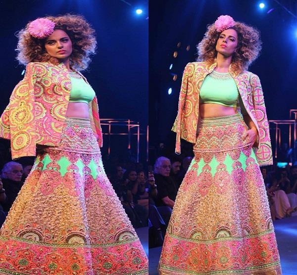 kangana ranaut walks on ramp for designer manish arora