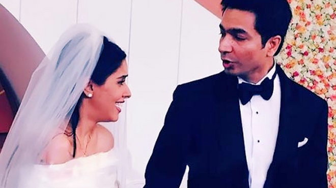 asin and rahul sharma in christian wedding outfits