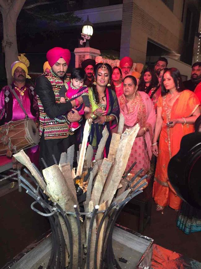 geeta and harbhajan celebrated his daughter  s first lohri