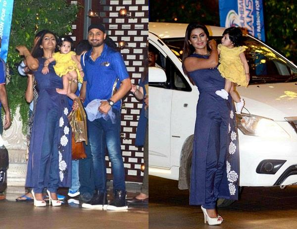 harbhajan with wife and daughter arrived at nita ambani party