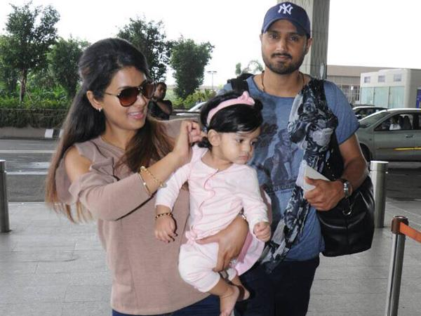 geeta basra is spotted with daughter hinaiah and hussband bhajji