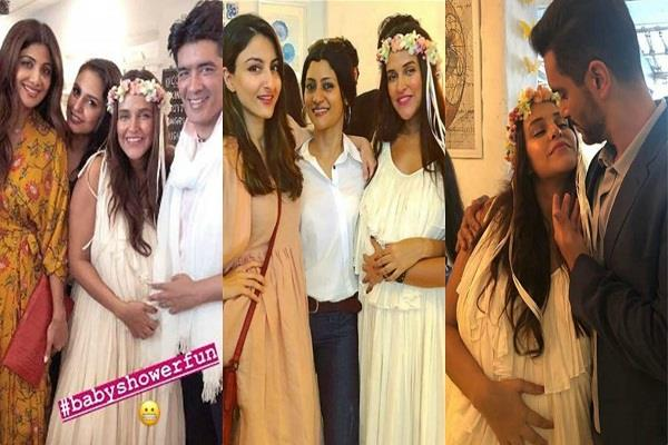 neha dhupia baby shower inside photos