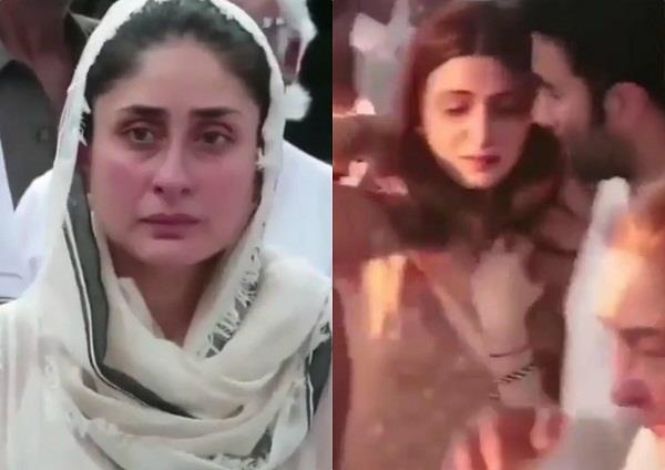 kareena and ridhima in her grandmother krishna raj kapoor demise
