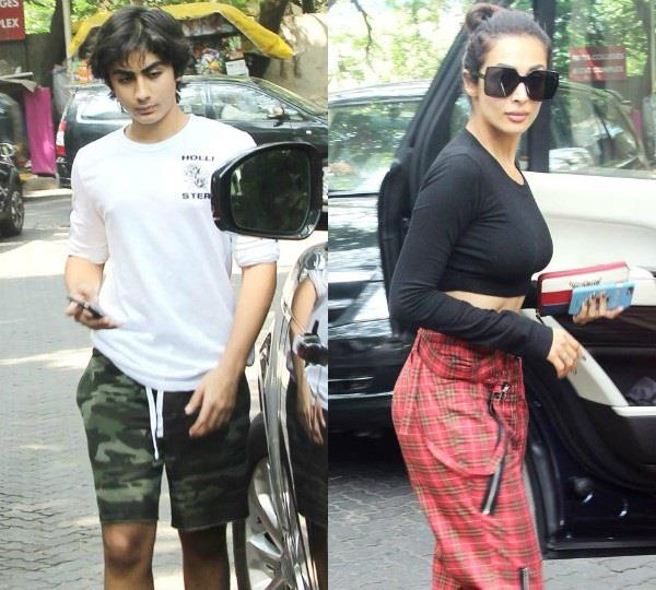 malaika arora spotted with son arhaan khan in bandra