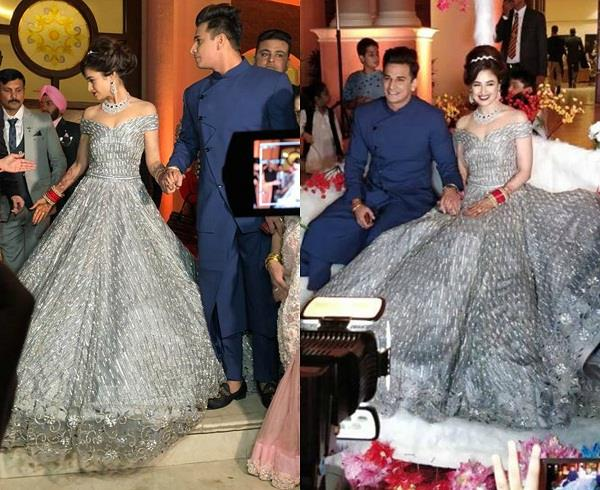 yuvika chaudhary wedding reception dress
