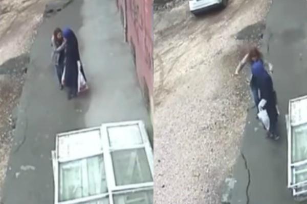 women swallowed by pavement