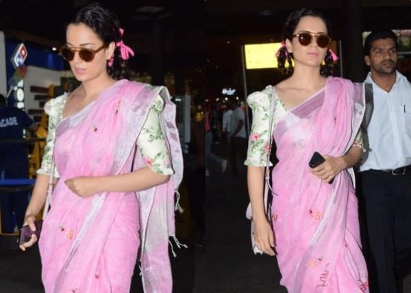 kangana ranaut funky look at airport