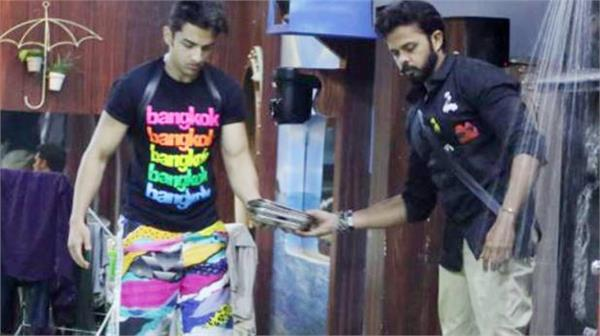 sreesanth and rohit clean a bunch of plates that are extremely dirty