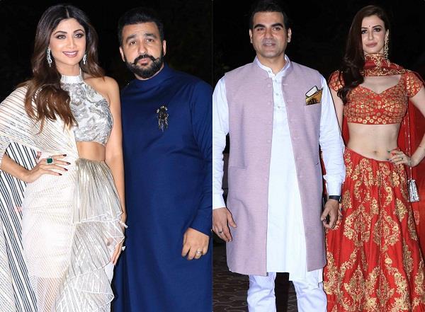 arbaaz khan and giorgia andriani attends shilpa shetty kundra diwali party