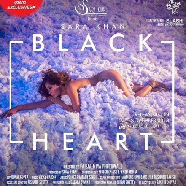 sara khan share nude photo with her upcoming song black heart release date