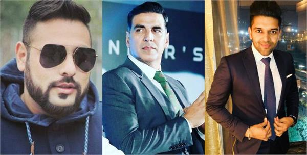 badshah and guru randhawa in support of akshay kumar