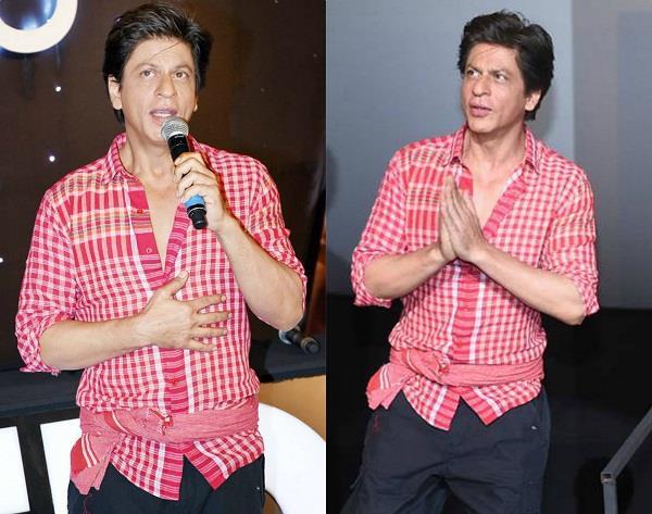 shahrukh khan desi style red shirt