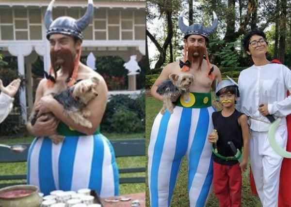 aamir khan and his family dressed like french comics characters