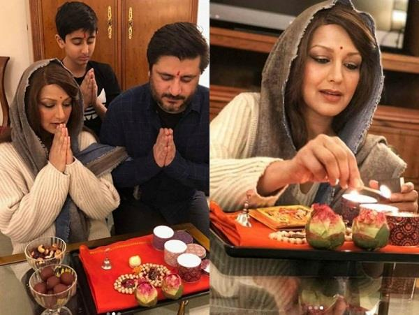sonali bendre celebrates diwali with family