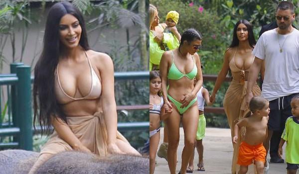 kim kardashian wears bikini ride elephant