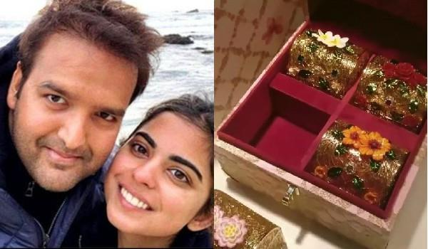 isha ambani royal wedding card first look