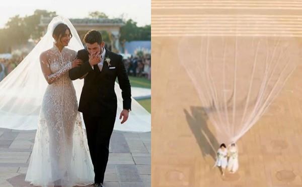 priyanka chopra wedding veil gown longer than meghan markle