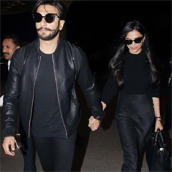 deepveer is ready for there honeymoon spotted in black outfit on airport