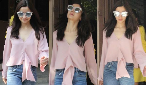 alia bhatt spotted at dubbing session