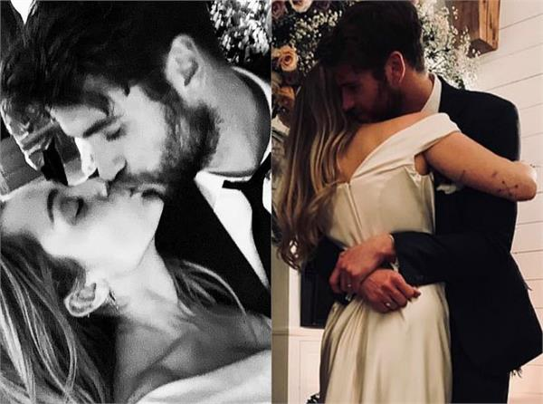 miley cyrus surprise wedding pictures with liam hemsworth