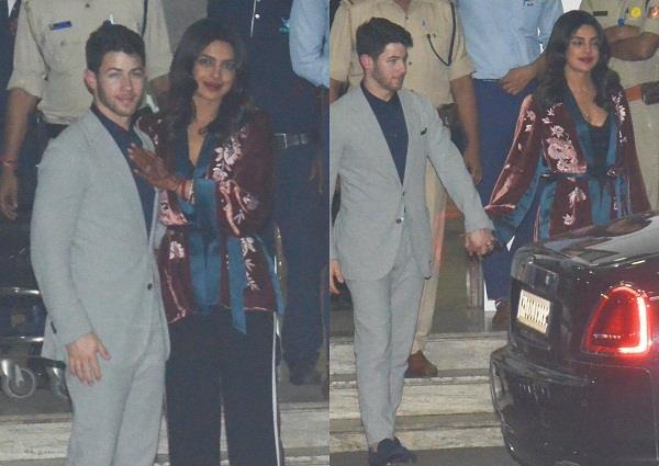 निक संग वापिस मुंबई लौटी प्रियंका, पति का हाथ थाम दिए पोज