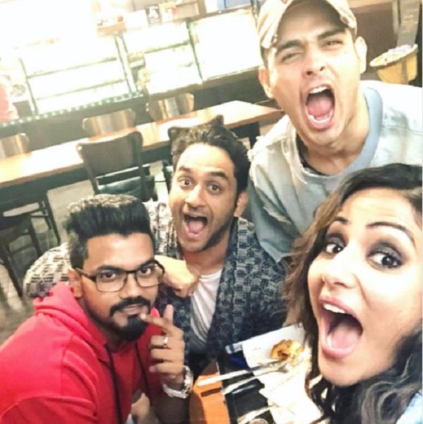 hina khan has a mini reunion with vikas and priyank
