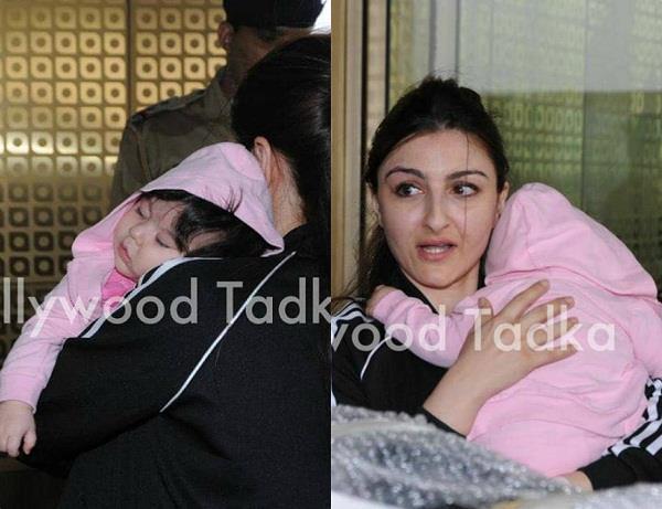 soha ali khan with daughter inaya spotted at airport