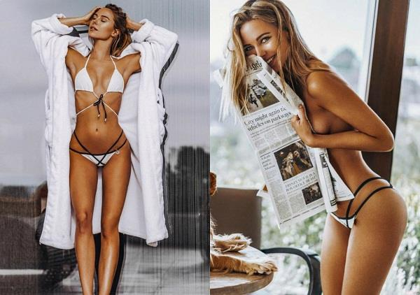 kimberley garner poses topless behind a large newspaper