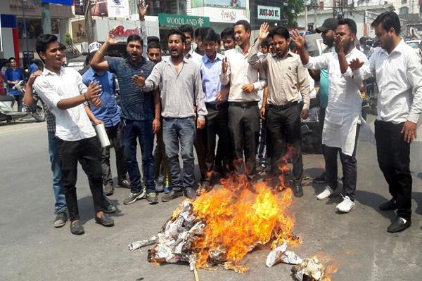 student organization burnt the effigy of central government
