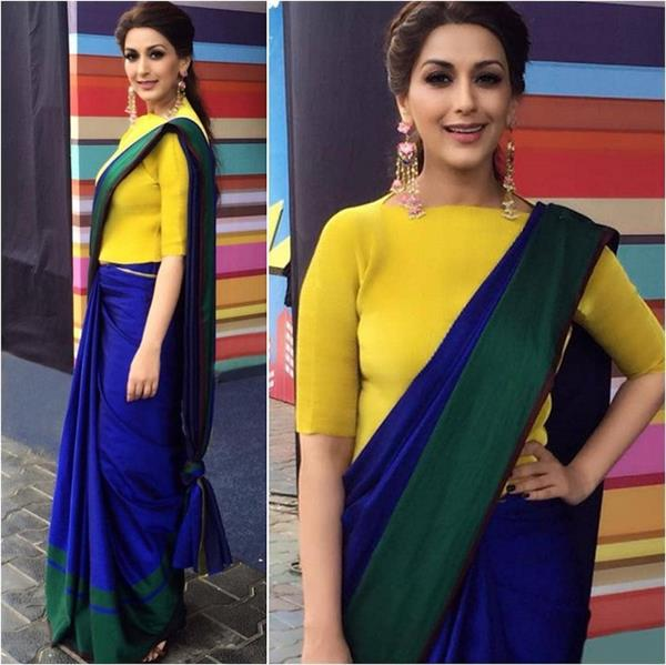 sonali bendre on the sets of a reality show