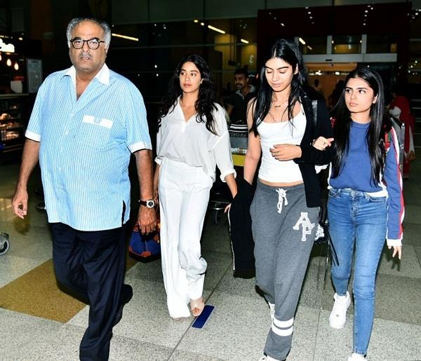boney kapoor in delhi to receive sridevi national award with jahnvi and khushi