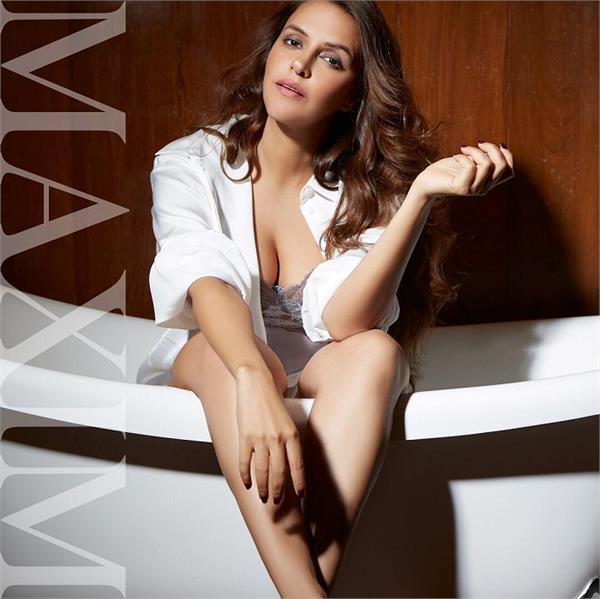 neha dhupia hot photoshoot for maxim