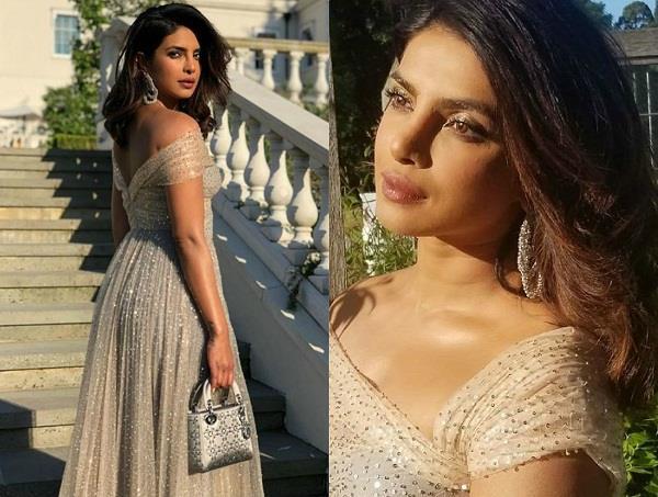 priyanka chopra looks princess in gold at royal reception