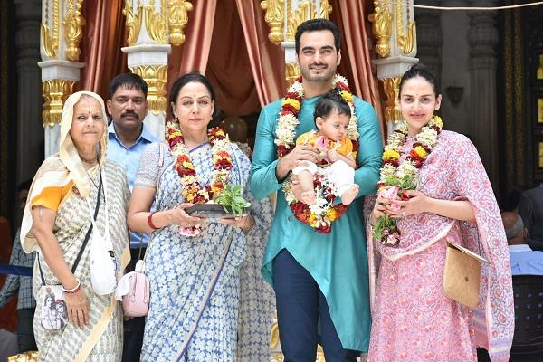 esha deol and bharat takhtani take baby radhya to the isckon temple