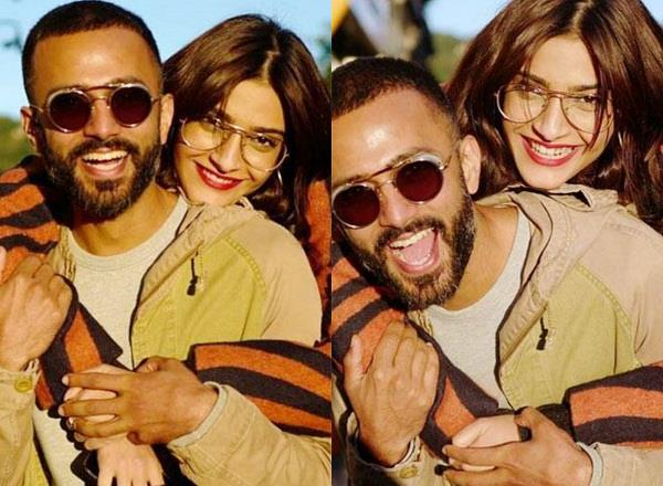 sonam kapoor romantic pose with husband anand ahuja