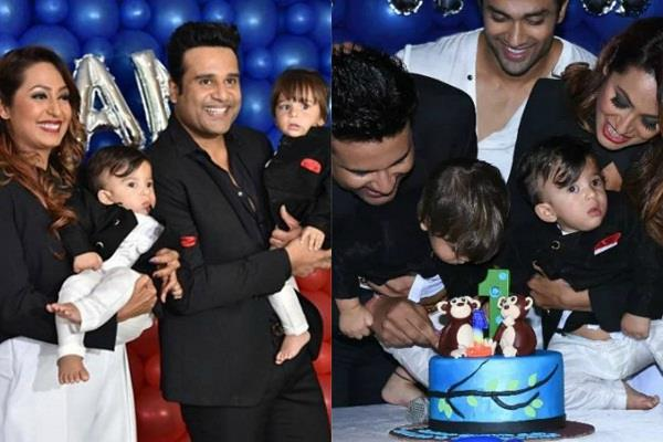 krishna abhishek celebrate his children first birthday