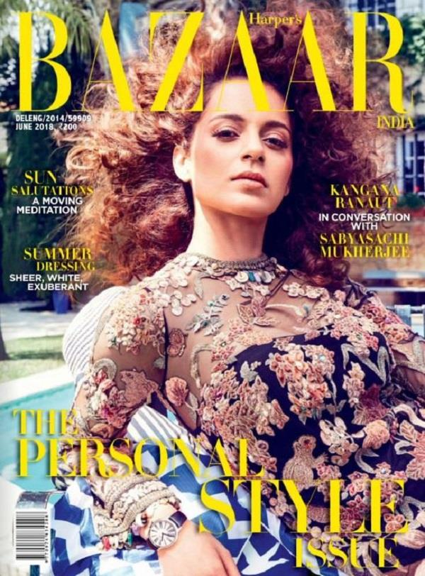 kangana ranaut looks elegance on the cover of harper s bazaar