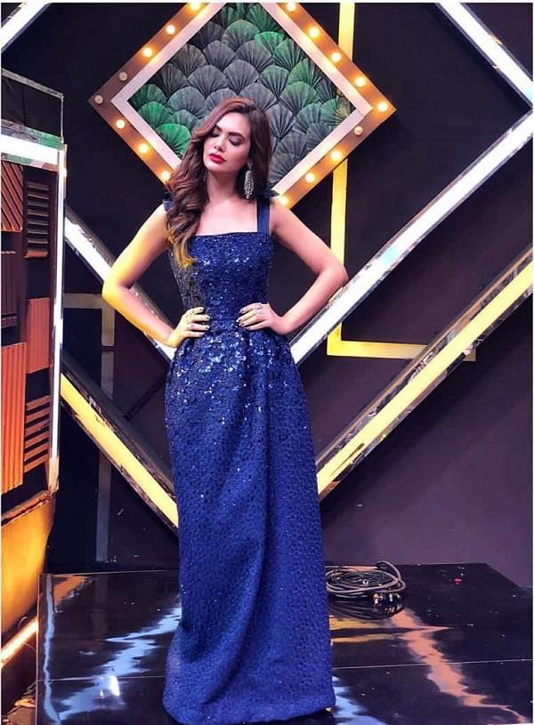 esha gupta snapped on the sets of a reality show