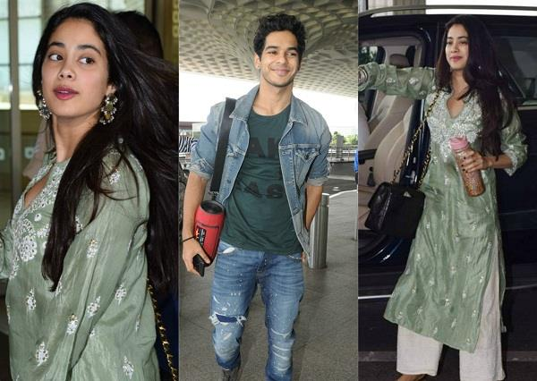 janhvi kapoor and ishaan khatter spotted at airport