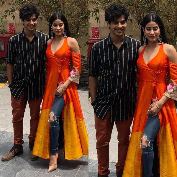 janhvi kapoor wore kallidar kurta with ripped jeans