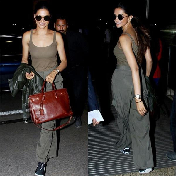 deepika padukone shows us how to rock military green at the airport