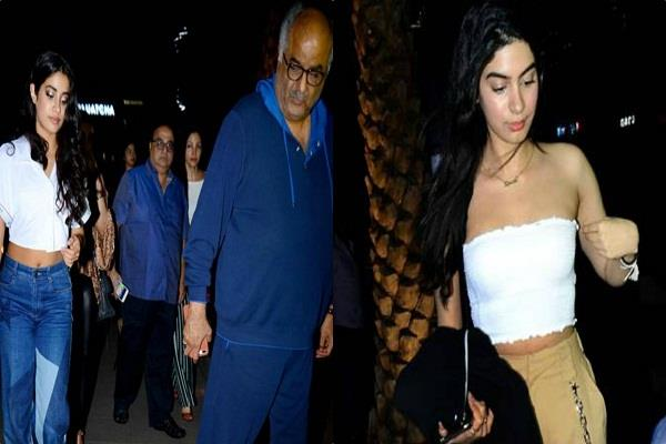 boney kapoor with daughters spotted at dinner date